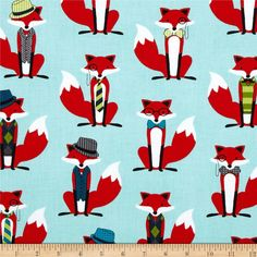 Fox and The Houndstooth Foxes Aqua from @fabricdotcom  Designed by Andie Hanna for Robert Kaufman, this fabric is perfect for quilting, apparel and home décor accents.  Colors include red, white, black, green and lime on an aqua background.