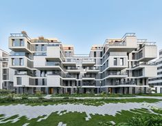 """Completed in 2016 in Berlin, Germany. Images by Jens Willebrand. In August 2016 the new residential district """"The Garden"""" with owner-occupied as well as rented flats was completed. Directly in the middle of Berlin,. Architecture Cool, Residential Architecture, Contemporary Architecture, Landscape Architecture, Landscape Design, Residential Complex, Social Housing, Building Facade, Facade Design"""