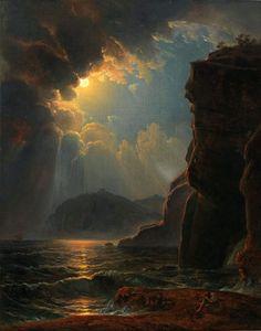 """ 🎨Rocky coast in the moonlight Johann Nepomuk Schödlberger Austrian Austrian painter. 🌍 Beauty in Art 🎨"" Fantasy Landscape, Landscape Art, Landscape Paintings, Landscapes, Landscape Photography, Aesthetic Painting, Aesthetic Art, Moonlight Painting, Classical Art"