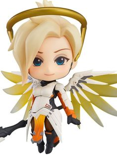 """""""Heroes never die."""" from the globally popular multiplayer first-person shooter Over watch comes the third Dendroid figure from the series — mercy! she comes complete with two different face plates including a gentle smiling face as well as a tougher looking expression for combat scenes. The Dendroid is fully articulated including movable wings, which allow for various poses ranging from dynamic action poses to more relaxed poses. #wing #nendoroid #anime #animegirl #toy #cute #adorable #gifts"""