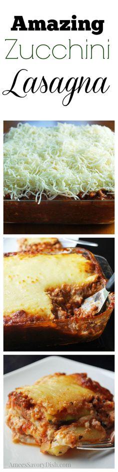 You won't miss the noodles in this healthier zucchini lasagna! Zucchini Lasagna #TheRecipeReDux http://ameessavorydish.com/zucchini-lasagna-reciperedux/