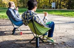 The Therm-a-Rest Treo Chair allows you to carry a chair that folds down into a thermos size.