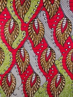 African Fabric Super Wax Print 6 Yards 100% Cotton sw091156