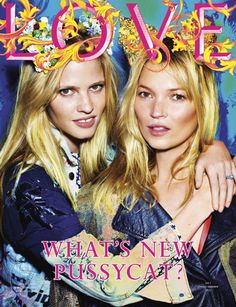 Lara Stone and Kate Moss, shot by Mario Testino for Love Magazine