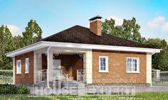 100-001-Л Проект одноэтажного дома, компактный домик из газосиликатных блоков