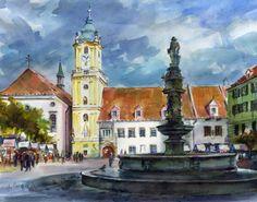 """Joseph Gregor """"Main square"""" in Bratislava, Slovakia, 12x16 in. Watercolor"""