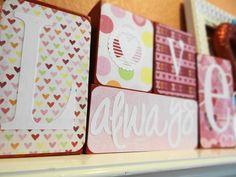 wooden valentine decorations | LOVE ALWAYS Wood Block Valentine's Day Decor. $20.00, via Etsy.