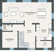 WeberHaus - Einfamilienhaus - Helle Räume - Balance 250 2nd Floor, House Plans, Floor Plans, Flooring, How To Plan, Hip Roof, Ground Floor, Photovoltaic Systems, Modern Bungalow