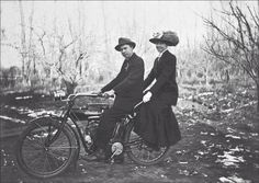 couple on an Indian Twin motorcycle in the Montana Bitterroot Valley,  1911