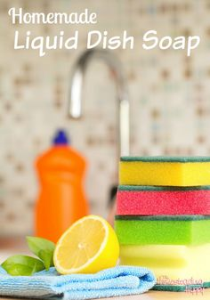 Yet ANOTHER use for Dr. Bronner's liquid castile soap: 1/4 cup castile soap, 1 cup water, 10 drops lemon essential oil.