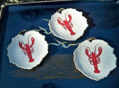 Vintage Nautical Lobster Porcelain Mint Vanity Pin Jewelry Candy Dishes Set of 3