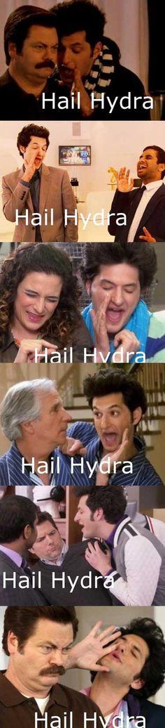 hail hydra meme parks rec