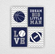 Navy And Gray Sports Boy Nursery Wall Art Decor Set Of 6 8x10 Basketball Soccer Football Alphabet Abc Numbers Instant