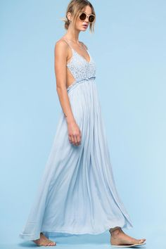Womens Street style outfit: Bohemian Crochet Lace Maxi Dress in powder blue. Front view.
