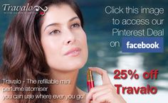GET 25% OFF YOUR NEXT TRAVALO PURCHASE with our new Pinterest Deal    Click this link - http://www.tabsite.com/wall_post.php?id=4869  Click the button to pin the image on Pinterest and you will see the code to use on our store - http://www.travalo.com/store/    It's limited to the 1st 100 people to use it, and it does run out on November 5th - so get in early :)