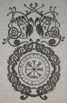 Vegvísir Bind Rune Circle Viking Pagan Norse T-Shirt Choice of Colors B Viking Symbols, Viking Art, Viking Runes, Norse Tattoo, Viking Tattoos, Viking Designs, Celtic Designs, Symbole Viking, Tattoo Symbole