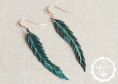 IN STOCK Patina Feather earrings from Girls Day Out by girlsdayout, $28.00
