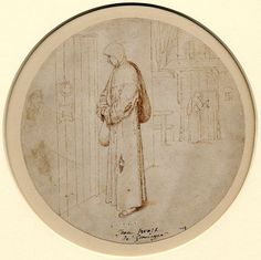 A monk before a closed door, after Pieter Brueghel the elder; with another monk knocking on a door behind Pen and brown ink