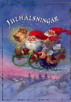 I don't know what it says but I love the image. Swedish Christmas, Christmas Gnome, Scandinavian Christmas, Christmas Art, Beautiful Christmas, Christmas Goodies, Christmas 2017, Vintage Christmas Cards, Vintage Cards