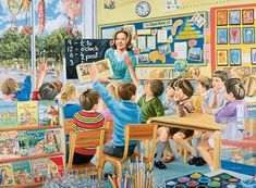 Jigsaw RavensburgerThis 500 piece jigsaw puzzle is the tenth in a series of nostalgic puzzles looking back at jobs and professions.  Set in the early 1960s, our scene shows a primary school teacher and her class.   There are lots of things in this scene that may bring back memories for you - the bright pictures on the walls, the powder paints, the books, the empty milk bottles in the rack and even the class hamster.  We hope this scene will rekindle memories of days gone by.