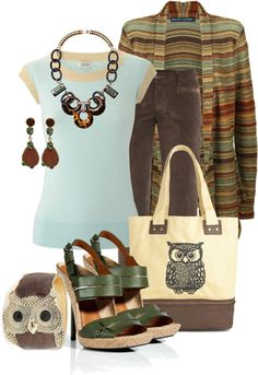 """""""brown owl"""" by sagramora ❤ liked on Polyvore"""