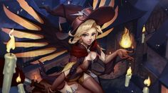 Witch Mercy Hallooween Girl Overwatch Wallpaper