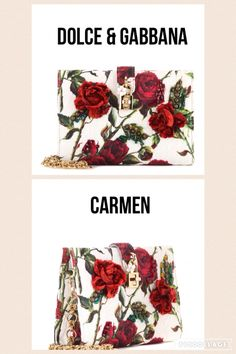 Dolce & Gabbana Raised Rhinestone Rose Brocade Carmen Clutch | DETAILS: - Clutch with removable knotted metal chain - Small inside pocket with logoed compact - Front padlock closure with enameled flower - Satin lining, light gold hardware - Roses in raised fabric with embroidered stones and studs on front - Corrida jacquard - 20x14.5x5 cm - $2395