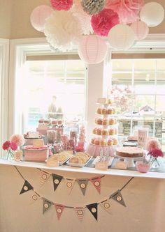 pink grey butterfly ballerina girl baby shower dessert table
