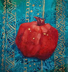 DIY Project: A Wet-on-Dry Watercolour of a Pomegranate – a free tutorial on the topic: Watercolor ✓DIY ✓Steps-By-Step ✓With photos Watercolor Fruit, Fruit Painting, Fabric Painting, Flowers Wallpaper, Hamsa Art, Poster Photo, Pomegranate Art, Iranian Art, Turkish Art