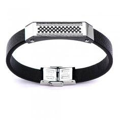 Men's Black Leather Cable Pro Bracelet