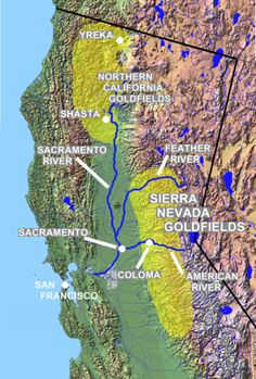 This is California Gold Rush Map. There were two big goldfields: Sierra Navada goldfields city and Northern California Goldfield city which are the two yellow parts. The blue lines are showing the river across these two cities.