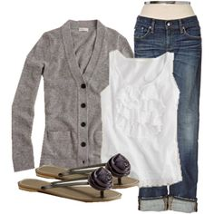 Love this outfit! Perfect for chilly weather. Cute for fall or winter. Gray cardigan, white embellished tank, rolled jeans