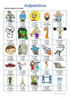 Adjektive - Welches Adjektiv ist richtig? Learn German, Kindergarten, Comics, Learning, School, Amelie, Winter, Vocabulary, Speech Language Pathology