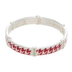 Silver tone stretch bracelet featuring a red houndstooth print.