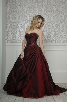 love the red, this is the kind of dress i would wear if i did my reverse wedding idea, where the people are in black and white and me and the groom are in color