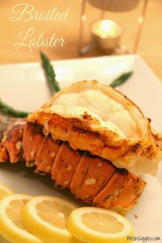 Broiled Lobster Tails _ One of my most favorite foods in the whole wide world is lobster! Serve with drawn butter & lemon. Did I not tell you that there's no need to go to a restaurant when you're craving lobster? Lobster Recipes, Fish Recipes, Seafood Recipes, Cooking Recipes, Cooking Fish, Cookbook Recipes, Dinner Recipes, Fish Dishes, Seafood Dishes