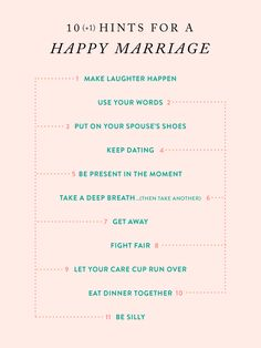 our favorite hints for a happy marriage!