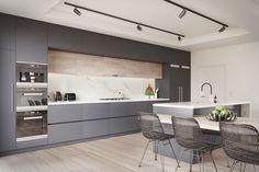 Cocinas modernas blancas y grises - 20+ diseños inspiradores #casasmodernasinteriores #cocinasmodernasgrises