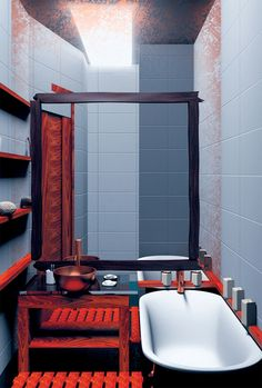 Bathroom Remodeling Ideas - Red poppy Red Bathrooms, Bathroom Red, Bathroom Remodeling, Remodeling Ideas, Red Poppies, Poppy, Bathtub, Space, Colors