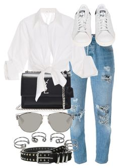"""""""Untitled #2349"""" by do-the-calder ❤ liked on Polyvore featuring Levi's, Yves Saint Laurent, Johanna Ortiz, adidas, Christian Dior, Maison Margiela and The Kooples"""