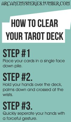 Tarot Tips http://arcanemysteries.tumblr.com/ How to clear your deck