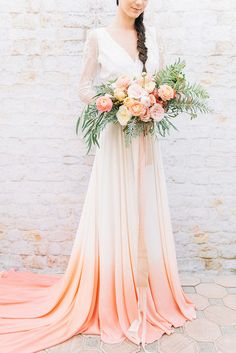 Dip Dye Wedding dress Ideas in Ombre Peach and Coral Coral Dress Wedding, Dip Dye Wedding Dress, Colored Wedding Gowns, Wedding Dress Chiffon, Princess Wedding Dresses, Bridal Dresses, Coral Weddings, Wedding Colors, Wedding Bouquet