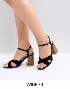 399501f4799187 River Island Wide Fit Cross Front Heeled Sandals at asos.com