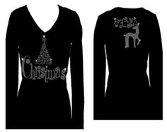 Christmas Tree and Reindeer  Rhinestone Holiday  V Neck Long Sleeve Womens Tee Shirt