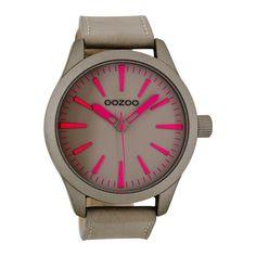 OOZOO Timepieces horloge Taupe/Roze C7031