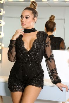 Cheap rompers for women, Buy Quality bodysuit romper directly from China overall romper Suppliers: Dokotoo macacao feminino 2017 spring Black Sequin Embroidery Sheer Jumpsuit bodysuits rompers overall for women Black Romper, Vogue, Long Sleeve Romper, Black Sequins, Cheap Dresses, 21 Dresses, Jumpsuits For Women, Fashion Jumpsuits, Sexy Outfits