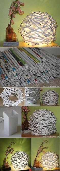 Great DIY Idea lighting interior decor installation art piece made from rolled up recycled newspaper looks fantastic