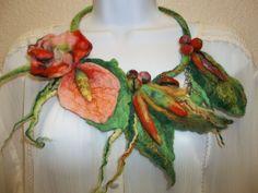 Unique handmade felt necklace. Natural australiam merino wool. Author's work. Felt jewelry.