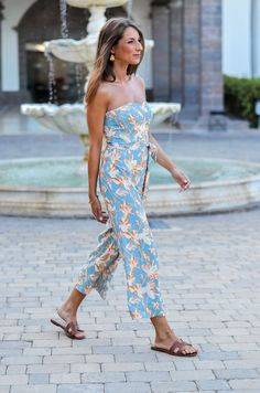 Outfit :: Wearing a floral off shoulder jumpsuit from H&M