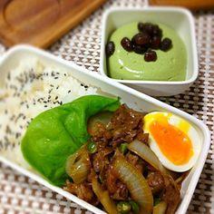 明日のお弁当(o^^o) ・牛丼 ・半熟たまご ・抹茶のムース - 5件のもぐもぐ - 牛丼弁当 by satoe512